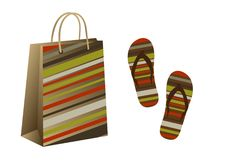 Free Shopping Bag And Flip Flops Royalty Free Stock Image - 20791726
