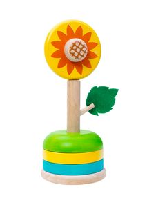 Sunflower Wooden Vase Toy Stock Photo