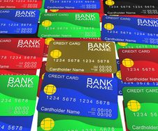 A Layer Of Colored Credit Cards Royalty Free Stock Photo