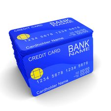 Free A Stack Of Blue Credit Cards Royalty Free Stock Photography - 20794127