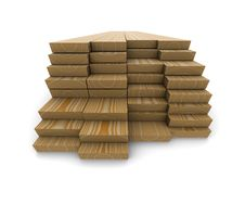 A Stack Of Pine Boards On A White Background Stock Images