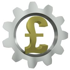 The GBP Sign In A Metal Gear Royalty Free Stock Photography
