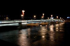 Night St.petersburg With Light Bridge Stock Photography