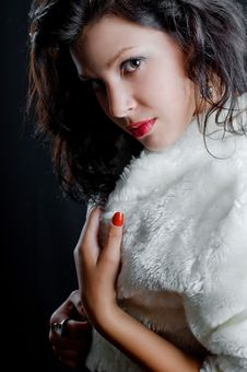 Free Beautiful Sexy Girl In Fur Coat Royalty Free Stock Image - 20794996