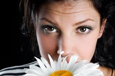 Beautiful Young Woman With Chamomile In Hand Royalty Free Stock Image