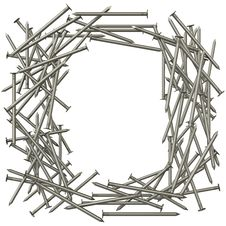 Frame Made Of Steel Nails Stock Images
