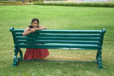 Free Girl On A Garden Bench Stock Images - 20797174