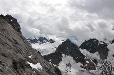 On The Top Of Mountain Titlis In Alps Stock Image