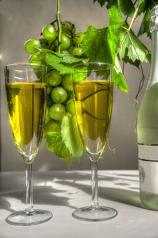 Free Champagne In Glasses And Grapes. Stock Photo - 20799640