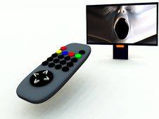 Free TV Control And TV 9 Stock Photography - 2083392