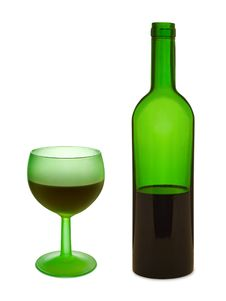 Free Green Glass With Red Wine And Bottle Stock Image - 2083921