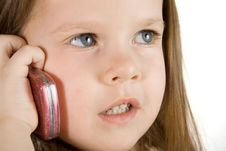 Free Little Girl Talking At Phone Royalty Free Stock Photo - 2085455