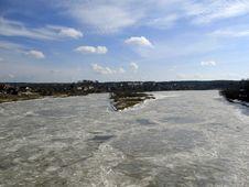 Frozen River Daugava. Royalty Free Stock Photo