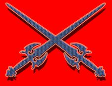 Free Blue Swords On Red Background Stock Images - 2088754