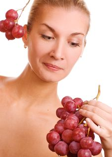 Free Beutiful Young Girl With A Bunch Of Grapes Stock Images - 2089474