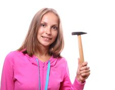 Free Woman With Hammer Stock Photography - 20800202