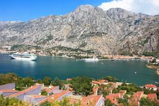 Kotor Bay And A Cruise Ship Stock Photos