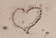 Free Heart On The Sand Royalty Free Stock Photography - 20801147
