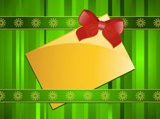 Free Gold Christmas Message Tag On A Green Background Royalty Free Stock Photography - 20802437