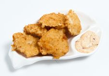 Free Chicken Nuggets With Sauce On The Plate Stock Photography - 20803122