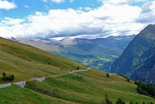 The Highway Among The Alpine Mountains Stock Images