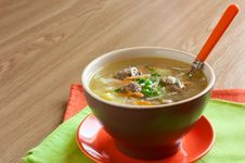 Soup With Noodles And Meatballs Stock Photos