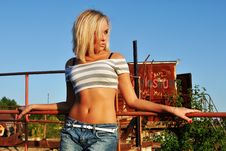 Free Girl, Standing At A Fence Royalty Free Stock Image - 20804046