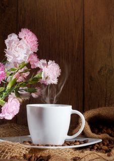 Free Cup And Coffee Beans And Flowers Stock Photography - 20804492