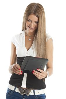 Free Beautiful Woman Communicate With Tablet Computer Royalty Free Stock Photos - 20805928