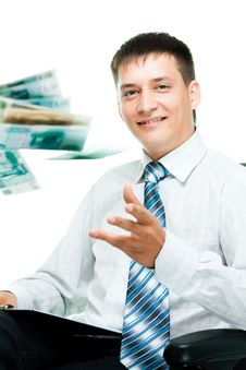 Free Smiling Businesswoman Throwing Money Stock Photography - 20806272