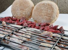 Grilled Chicken And Kebab With Bread Stock Image
