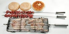 Grilled Chicken And Kebab With Bread Stock Photos