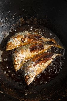 Free Fish Frying In Hot Oil Royalty Free Stock Image - 20810456