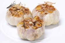 Free Fresh Garlic With Rosemary Grilled Stock Photography - 20811952