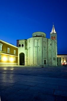 Green, Blue And Yellow Of The Zadar Roman Square Stock Photos