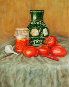 Free Tomato Sauce And A Vase Royalty Free Stock Images - 20813619