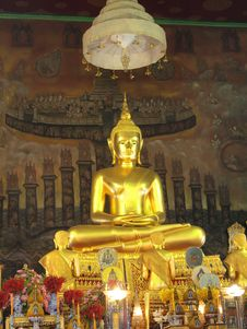 Big Golden Buddha Statue At Wat Rakhang , Bangkok Stock Image