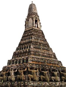 Pagoda With White Isolated In Wat Arun , Bangkok Royalty Free Stock Image