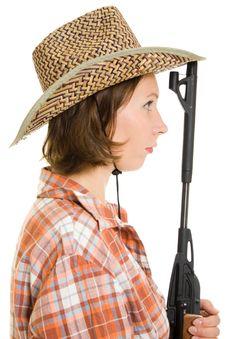 Free Cowboy Woman With A Gun. Stock Image - 20814881