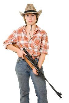 Free Cowboy Woman With A Gun. Royalty Free Stock Image - 20814946