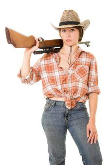 Free Cowboy Woman With A Gun. Royalty Free Stock Photo - 20814965
