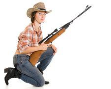 Free Cowboy Woman With A Gun. Royalty Free Stock Photo - 20814975