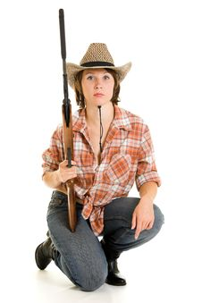 Free Cowboy Woman With A Gun. Royalty Free Stock Images - 20814989