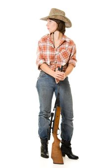 Free Cowboy Woman With A Gun. Royalty Free Stock Photography - 20815007