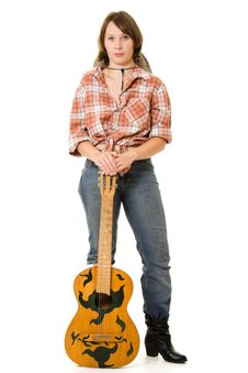 Free Cowboy Woman With A Guitar. Stock Photo - 20815030