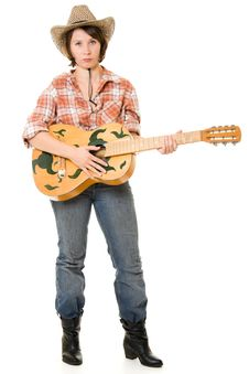 Free Cowboy Woman With A Guitar. Stock Photo - 20815040