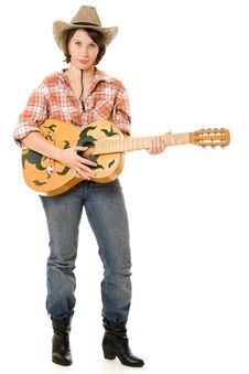 Free Cowboy Woman With A Guitar. Royalty Free Stock Images - 20815089