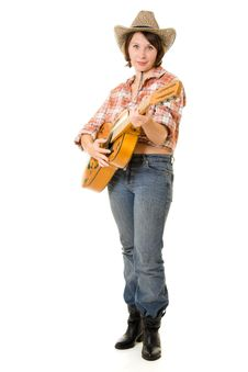 Free Cowboy Woman With A Guitar. Stock Photos - 20815103