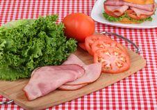 Ham Sandwich Preparation Stock Photography