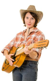 Free Cowboy Woman With A Guitar. Royalty Free Stock Image - 20815126